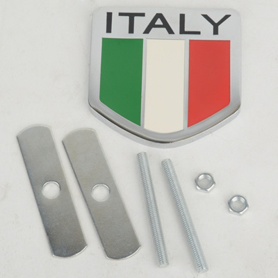 ITALY Flag Front Grill Grille Emblem Brand Premium Metal Auto Car Decal Badge