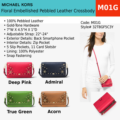 7c01e746c9b0 MK - Floral Embellished Pebbled Leather Convertible Crossbody Bag