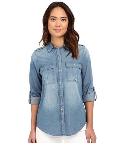 c2ec52cb21f Qoo10 - (MICHAEL M.i.c.h.a.e.l K.o.r.s) Military Denim Shirt (For Women)   Women s  Clothing
