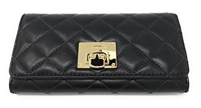 d052756c038e2d (MICHAEL Michael Kors) Michael Kors Astrid Quilt Leather Carryall Wallet  (Black/Gold