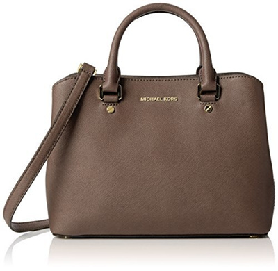 65dd52c3763b Qoo10 - Michael Michael Kors Savannah Medium Leather Satchel, Grey : Bag &  Wallet