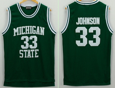 separation shoes 0d626 109f1 Michigan State Spartans Magic Johnson Jerseys 33 University College  Basketball Shirt Green Color For