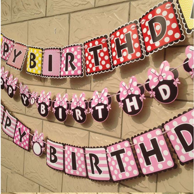Flags Bunting Source · Mickey Minnie Mouse Happy Birthday Paper Bunting 1 Banner bag letter Flags