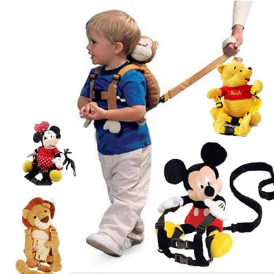Qoo10 - Mickey Minnie Pooh Brown Bear baby bag toddler 2in1 Harness
