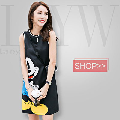 Qoo10 Mickey Mouse Printing Korean One Piece Sleeveless Dress