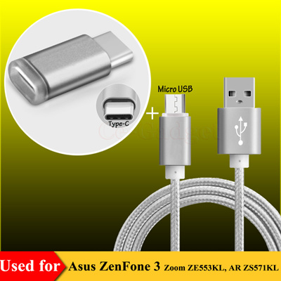 Micro USB Data Sync & Charging Cable Asus ZenFone 3 Zoom ZE553KL, AR  ZS571KL w/ Type C Male to