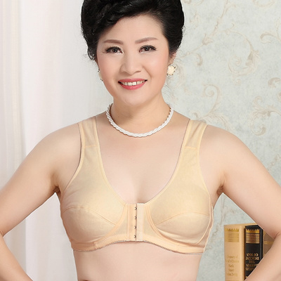 Middle-aged and elderly front buckle bra cotton-free steel rim summer ultra- ee318fe7046b