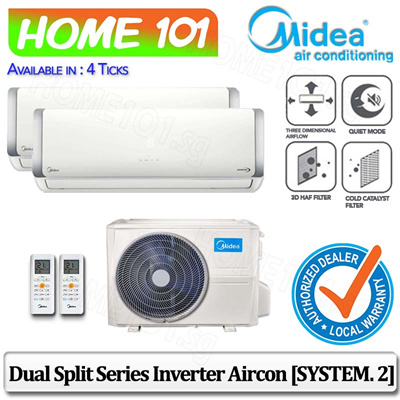 MideaMidea Dual Split Opal Series AirCon Available in 4 Ticks [SYSTEM  2]  (Stock Arr Beginning Sept)