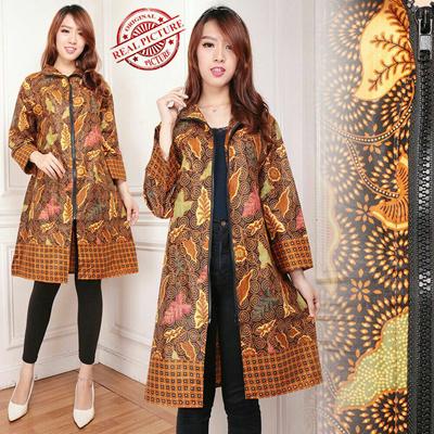Midi Dress Batik Blazer Outer Yellow Leaf Jumbo