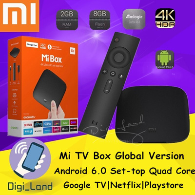 MijiaXiaomi Mi TV Box Global Version Android 6 0 Set-top Quad Core 4K Smart  Youtube Netflix Playstore