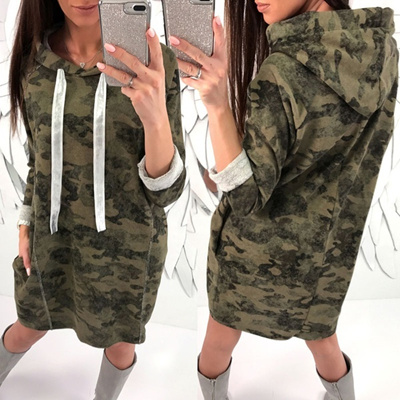 a08f0e4956c Qoo10 - Military Style Camouflage Green Tunic Blouse Women Printed Long  Sleeve...   Women s Clothing