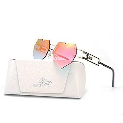 1c2cee0961 Qoo10 - MINCL Womens Designer Cute Rimless Love Heart Shaped Sunglasses    Men s Bags   Shoes