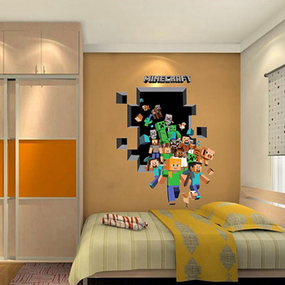 Minecraft 3D Wall Sticker For Kids Room Wallpaper Home Decoration Game Enderman