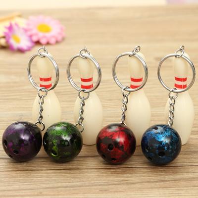 Mini Bowling Pin and Ball key chain key Ring 3D Keyfob Keychain Fashion  Jewelry Special Gift