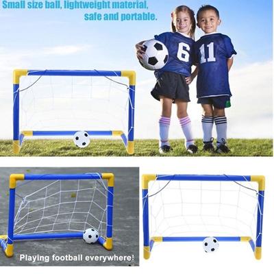 Mini Cute Football Soccer Goal Post Net Set Pump Indoor Outdooor Kids Toy  Gift (Size