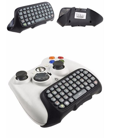 Mini Wireless Computer Game Keyboard Chat Pad For Microsoft Xbox 360 Controller Black Color