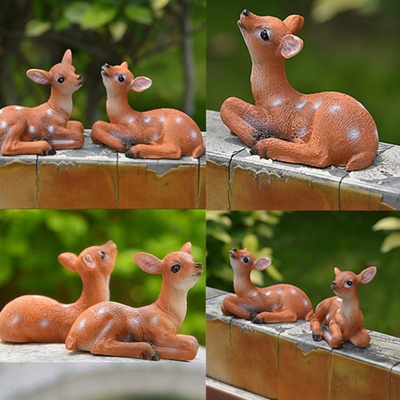 Miniature Deer Sculpture Garden Ornament Figurine Fairy Gift Craft  Dollhouse Decoration