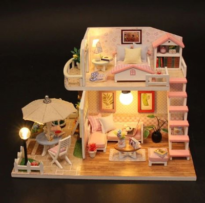 Miniature Diy Puzzle Toy Doll House Model Wooden Furniture Building Blocks Toys Birthday Gifts Pink