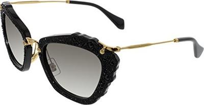 bafb3c24809e2 Miu Miu MU04QS 1AB0A7 Black Noir Cats Eyes Sunglasses Lens Category 2 Size  55mm