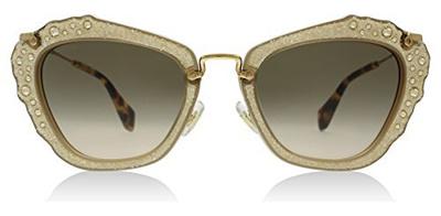 75bd583677d3e Miu Miu MU04QS MAR3D0 Opal Beige Noir Cats Eyes Sunglasses Lens Category 2  Size