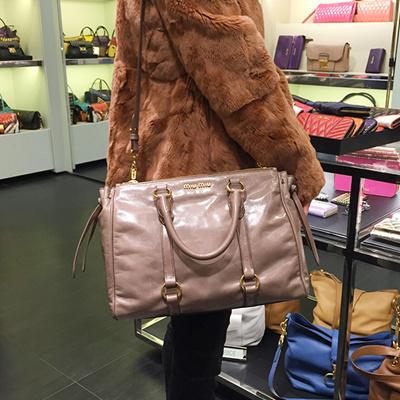Qoo10 - MIUMIU 5BB010 VITELLO SHINE LEATHER BAG  MUSHROOM   Bag ... 69aa8817bf9d5