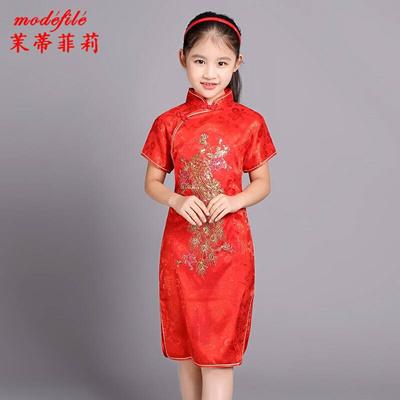 a0650d1c1 Qoo10 - Mo Siti Ferri children s old dress cheongsam summer new short  sleeved ... : Women's Clothing