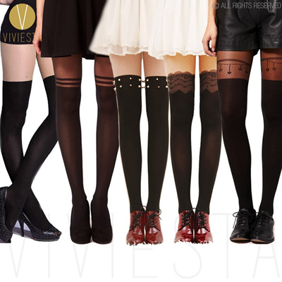 802dd9fb71f MOCK OVER THE KNEE TIGHTS - 120D + 30D Sexy Black Sheer Lace Stud Stripe  Suspender