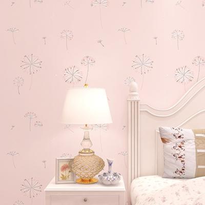 Modern Korean Style Dandelion Wallpaper For Girls Bedroom Walls Pink Grey Green Beige Non Woven Wall