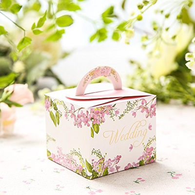 Moleya 50pcs Diy Wedding Favors Wedding Party Favor Boxes Bridal Candy Gift Boxes With Handle Pink