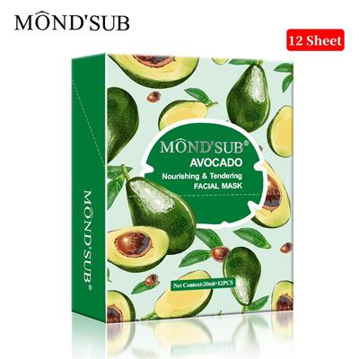 MONDSUB12 P Avocado Oil Facial Masks-Best Sheet Mask For Dry Skin-Deeply  NourishingMoisturizing- Make Ski