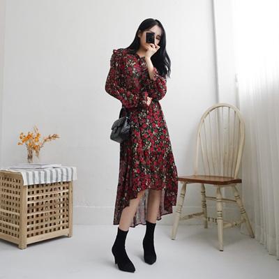Qoo10 2018 New Arrival Flower Chiffon Long Dress Korean Dress