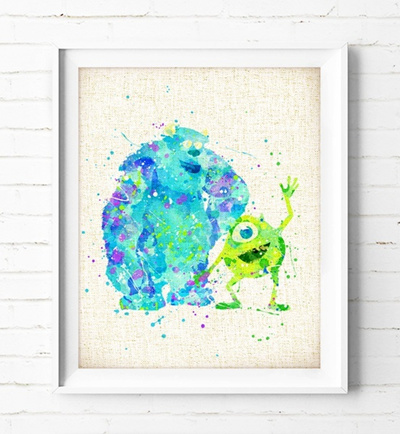 Qoo10 - Monsters Inc Poster Mike & Sulley Art Print Watercolor ...