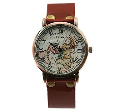 Qoo10 - More time Brown Leather Watch World Map Watches Vintage Map ...
