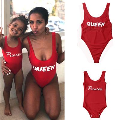 Fashion Family Swimwear Mother Daughter Matching Women Kid One Piece  Swimsuit