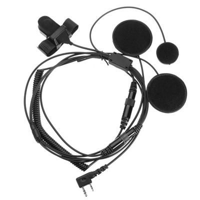 Motorcycle Helmet Headset Speaker Earpiece Kit Fit For Walkie Talkie UV-5R 5RE Black