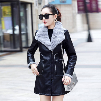 28f6ef23e Ms. Mi-young lady leather winter long temperament self-cultivation leather  jacket Korean plate flash