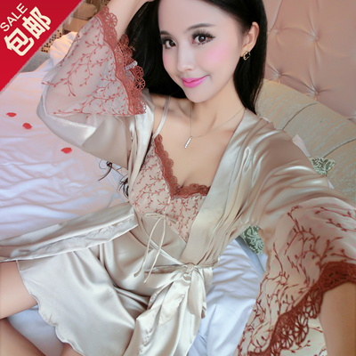 Qoo10 - Ms. Spring models long-sleeved silk pajamas nightgown silk nightgown  s...   Underwear   Sock. a8c0cef84e92