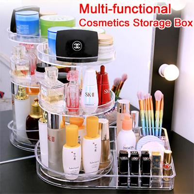 Multifunction Cosmetic Storage Box Rotating Rack Acrylic Lipstick Brush Storage Tool