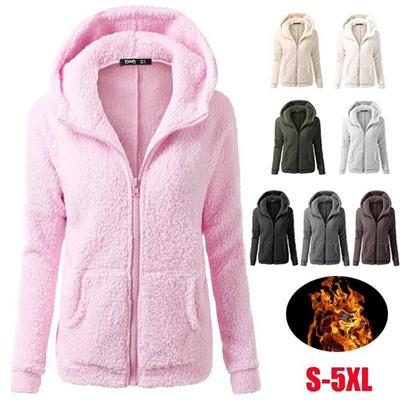 Musim Gugur Musim Dingin Wanita Casual Zipper Hoodie Coat Wol Sweatshirts  Fluffy Hooded Cotton-empuk a351e72456