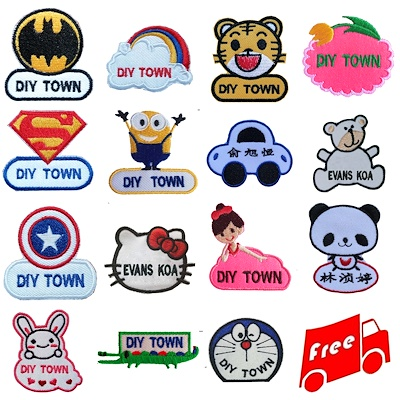 Name Tag Lovely Pattern Couple Tags Name Embroidery Stickers Kids Stickers Art Design Use In School