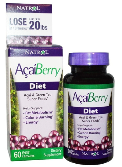 Natrol ACAI BERRY DIET/ AcaiBerry Diet Acai Green Tea Super Foods 60 Fast Capsules.