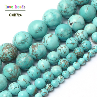 Natural Blue Turquoise Stone Round Beads for Jewelry Making 15 5/strand  Pick Size 4 6 8 10 12 14mm