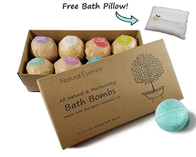 Qoo10 - Natural Essence Bath Bombs with FREE PILLOW Gift Set of 8 ...