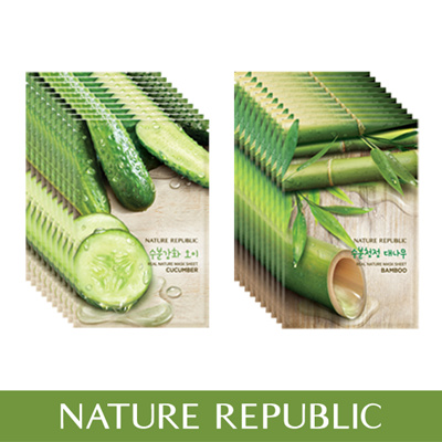 Nature Republic Real Nature Mask Sheet Cucumber Line (10Ea) + Another (10Ea)