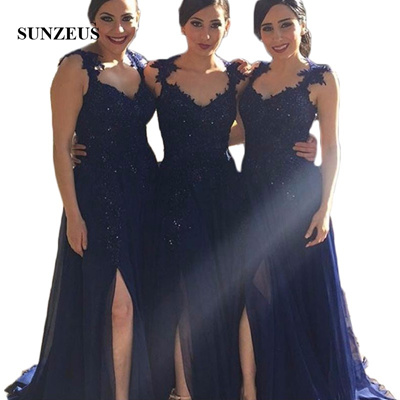 entire collection look for factory outlet Navy Blue Chiffon Bridesmaid Dresses Plus Size Arabic Sweetheart Lace  Appliques Beaded Side Slit Lon