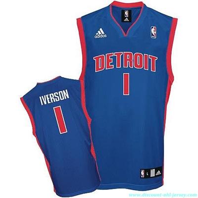 new concept a3914 bcbfc Qoo10 - NBA Detroit Pistons #1 Allen Iverson Royal Blue ...