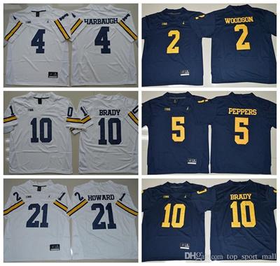 new arrival b37e8 e5464 NCAA Michigan Wolverines Football 10 Tom Brady College Jerseys 2 Charles  Woodson 4 Jim Harbaugh Jers