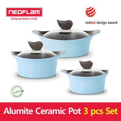 Neoflam Neoflam Alumite Pot Set Mini Pot 16cm 18cm 20cm Ecolon Pot Cookware Kitchen Pot Eela Pot Ceramic Pot Multi Grill Pan
