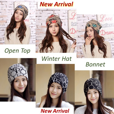 NETT  Korean Printed Female Head Cap Neck Warmer Cotton Open Top Bonnet Winter  Hat d28e2cf9731
