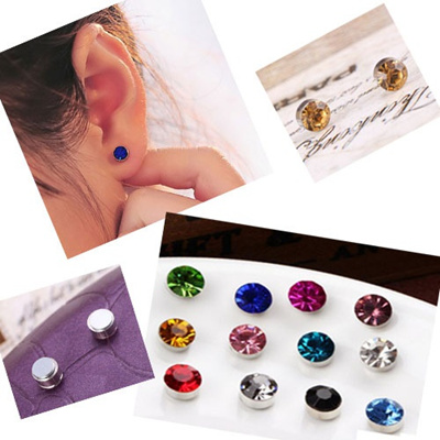 New 24pcs Lot 4 6 Mm No Hole Round Crystal Magnetic Magnet Earrings For